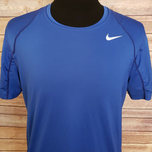 Nike Pro Blue Athletic Short Sleeve Shirt Large